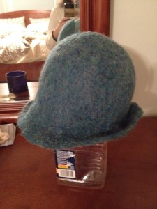 "My first hat drying out and waiting for the ""pretty"" bits"