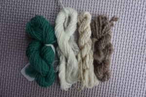 From the left, merino, rose, cotton and alpaca